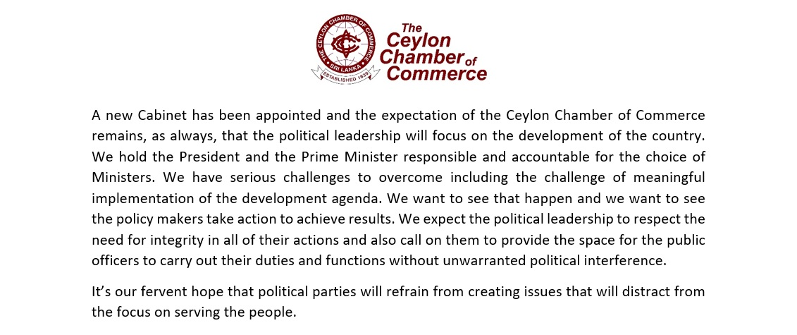 Statement by the Ceylon Chamber of Commerce