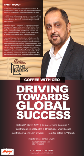 Young Leaders Coffee with CEO Hanif Yusoof March 28th 2019 flyer