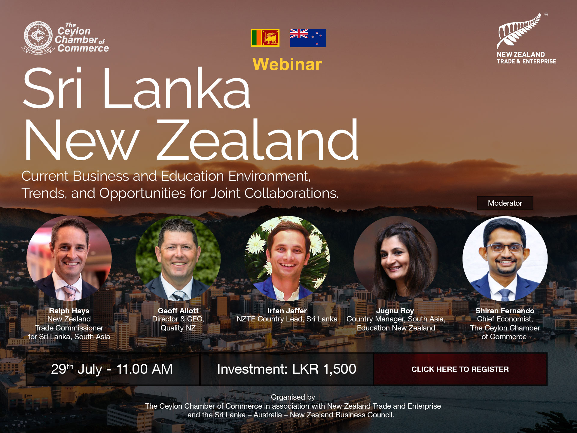 WEBINAR ON NEW ZEALAND - CURRENT ECONOMY, BUSINESS ENVIRONMENT AND OPPORTUNITIES FOR JOINT COLLABORATIONS